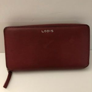 LODIS Ivy Zip Around Leather Red Wallet